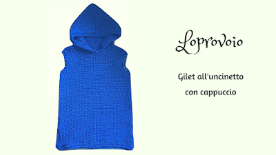 Gilet all'uncinetto con cappuccio