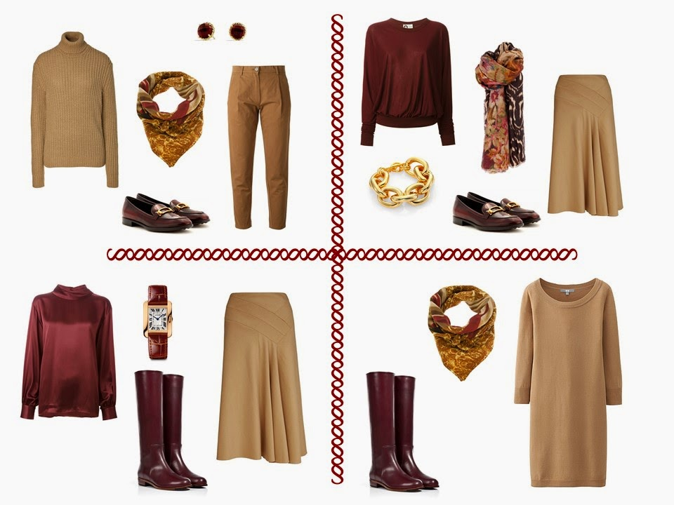 four outfits from a camel and burgundy travel capsule wardrobe