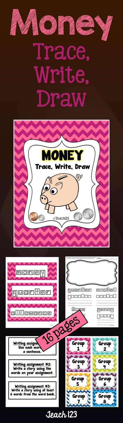 Teach 123 Money Trace Write Draw Printables at TeachersPayTeachers