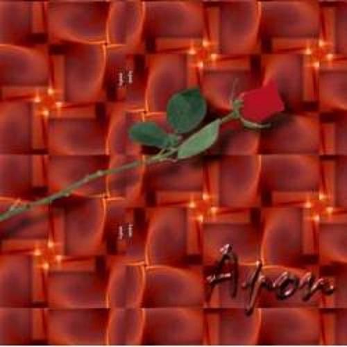 #PraCegoVer: Rosa vermelha na diagonal sobre um fractal vermelho e pequenos círculos amarelos. Abaixo da rosa, em relevo, o nome Apon.