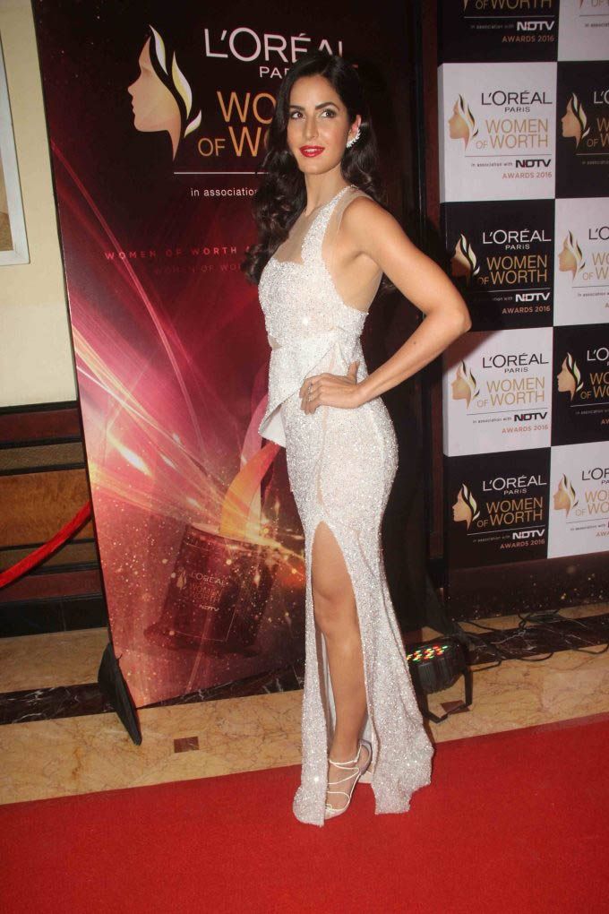 Katrina Kaif Hot Leg Show Photos In White Gown