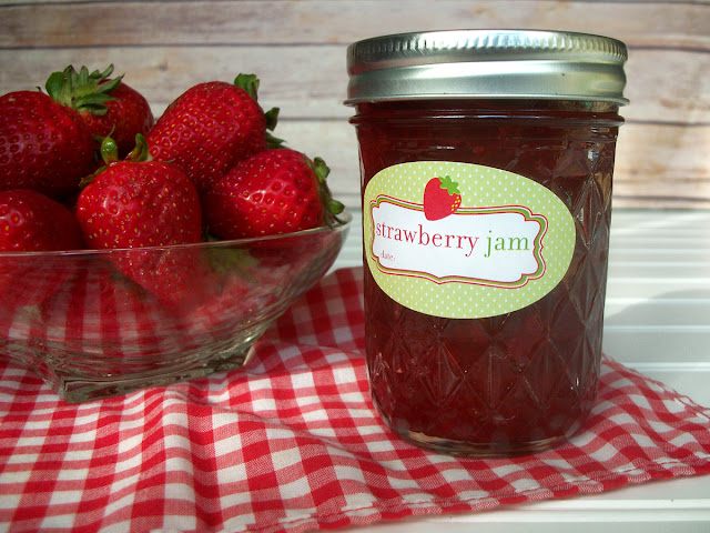 Cute Strawberry Jam Oval Canning Jar Labels