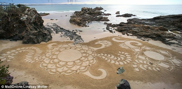 http://www.dailymail.co.uk/news/article-2664903/Artist-24-creates-stunning-sculptures-using-beaches-blank-canvas-just-one-month-picking-rake-time.html