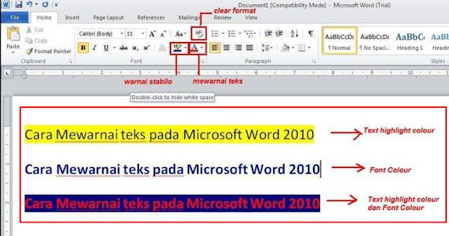 MEWARNAI TEKS DENGAN MUDAH PADA MICROSOFT WORD 2010