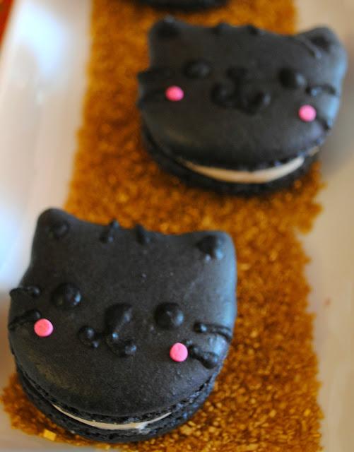 Black-cat-salted-caramel-macarons- cat-adoption-party-Halloween-party
