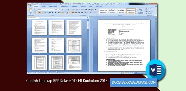 Contoh Lengkap RPP Terbaru Kelas 6 SD-MI Kurikulum 2013
