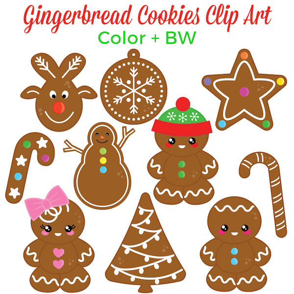 Christmas clip art. Gingerbread cookies clip art. #gradeonederful #christmas #gingerbread #christmasclipart #clipart