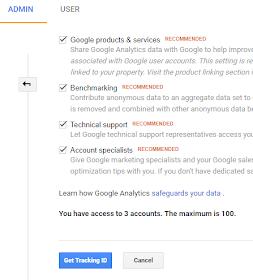 Generate Tracking ID on Google Analytics