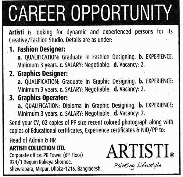 Jobs Barta Artisti Collection Ltd Jobs Circular Post Fashion Designer Graphics Designer Etc