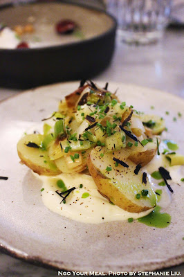 New Potatoes, Smoked Creme Fraiche, Charred Leeks at Ellsworth in Paris