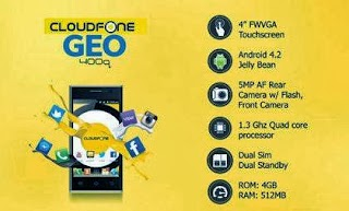 Buy Cloudfone GEO 400q and get Free PowerSurf299 and Globe SIM