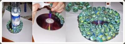 CD ve misketlerden mumluk modeli yapımı, resimli açıklamalı 1