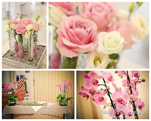 idée déco fleurs repas mariage thème gris et rose