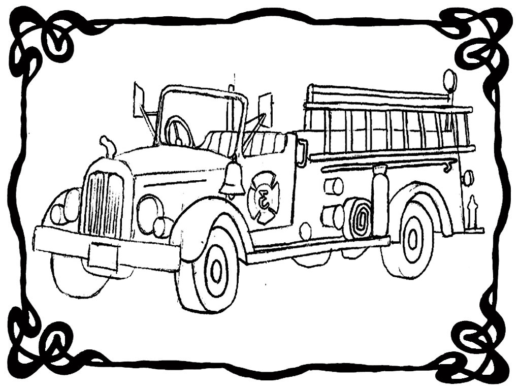 fire truck realistic coloring pages - photo#30