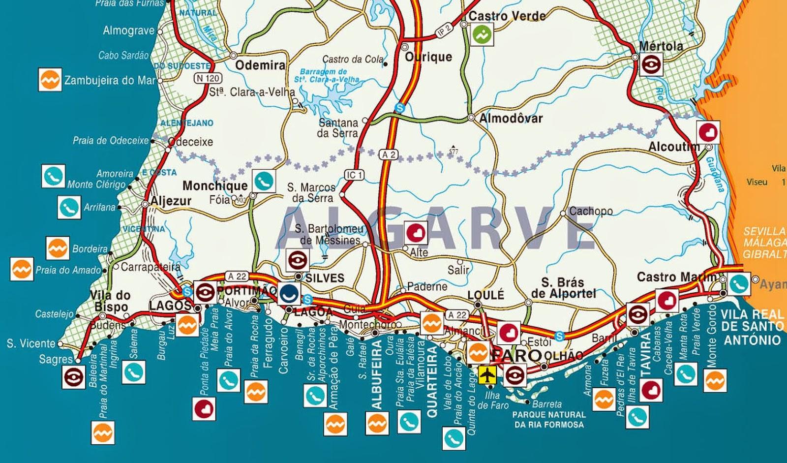 mapa de portugal algarve Mapas de Albufeira   Portugal | MapasBlog mapa de portugal algarve