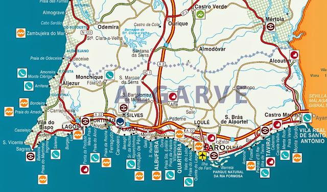Mapa da região do Algarve e Albufeira