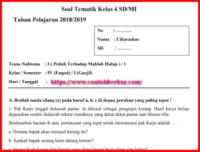 Soal PAS/UAS Tematik Kelas 4 Tema 3 Subtema 1