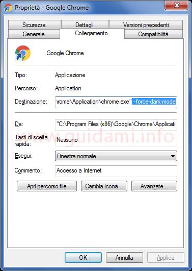 Finestra proprietà Chrome