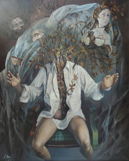José Marí pintura surrealista arte gran formato ramas rostros