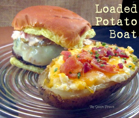 Loaded Potato Boat with a Philly Burger...YUM-O!