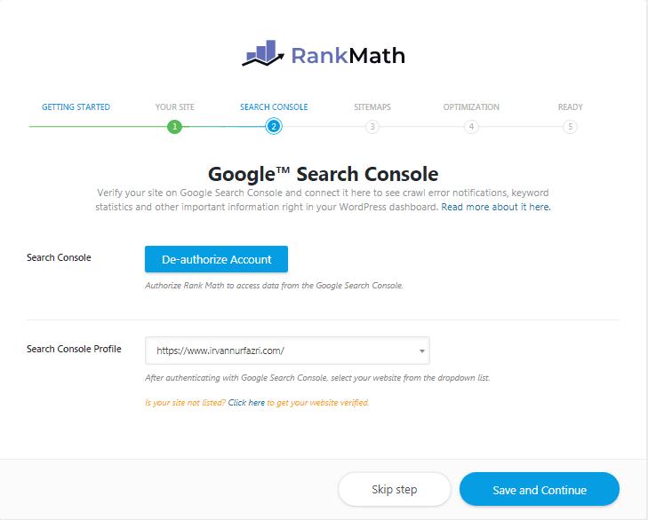 google search console - rank math