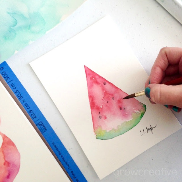 watermelon slice watercolor painting: growcreative