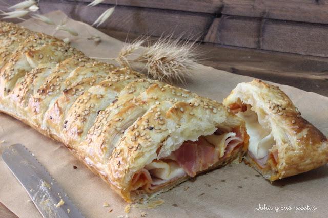 Trenza de hojaldre rellena de jamón y queso. Julia y sus recetas