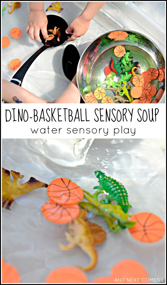 Fine motor water sensory play with dinosaurs and basketballs - inspired by the children's book Dino-Basketball from And Next Comes L