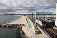 An Amtrak train passes over the Niantic River Bridge in Connecticut (Credit: Amtrak) Click to Enlarge.