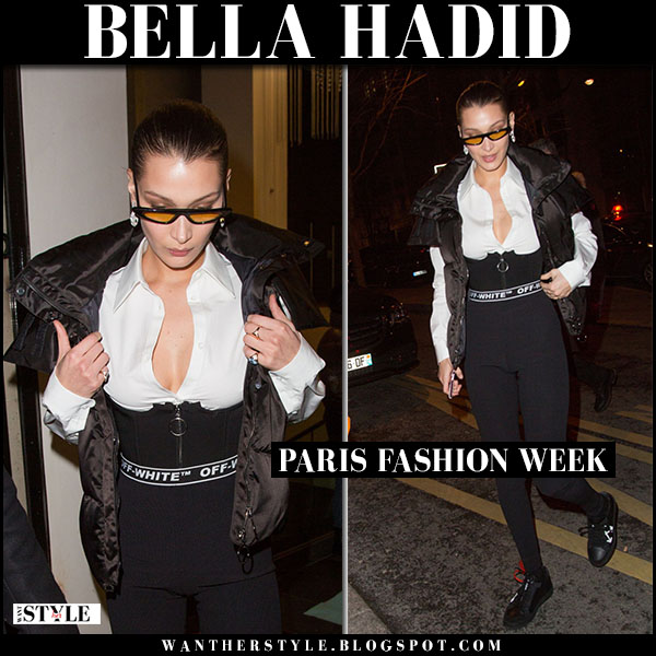 Bella Hadid in black padded vest, white shirt and black leggings off-white model street fashion march 1