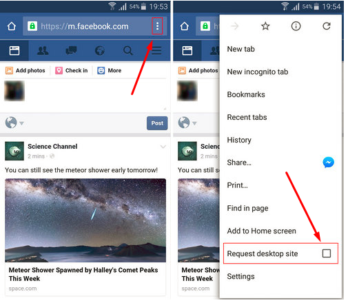 Change Facebook Mobile to Desktop