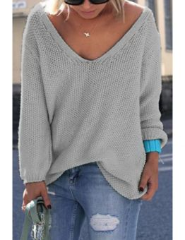 Women's V-Neck Casual Oversized Sweater