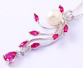 ruby silver pendant