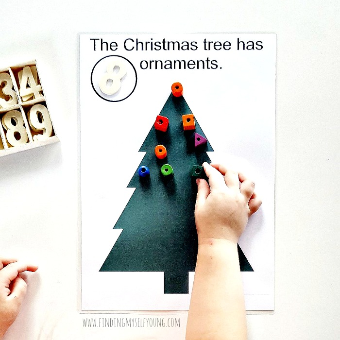 christmas tree playdough mat