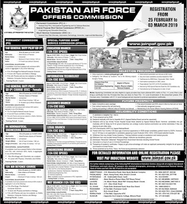 Pakistan Air Force (PAF) Latest Jobs As Officers Commission| Join Now| Apply Online 2019