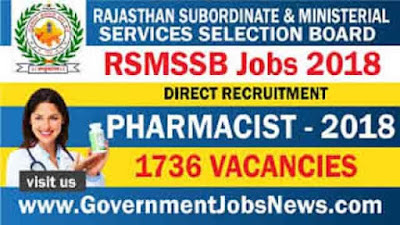 RSMSSB recruitment 2018 - Direct Recruitment Pharmacist 1736 post
