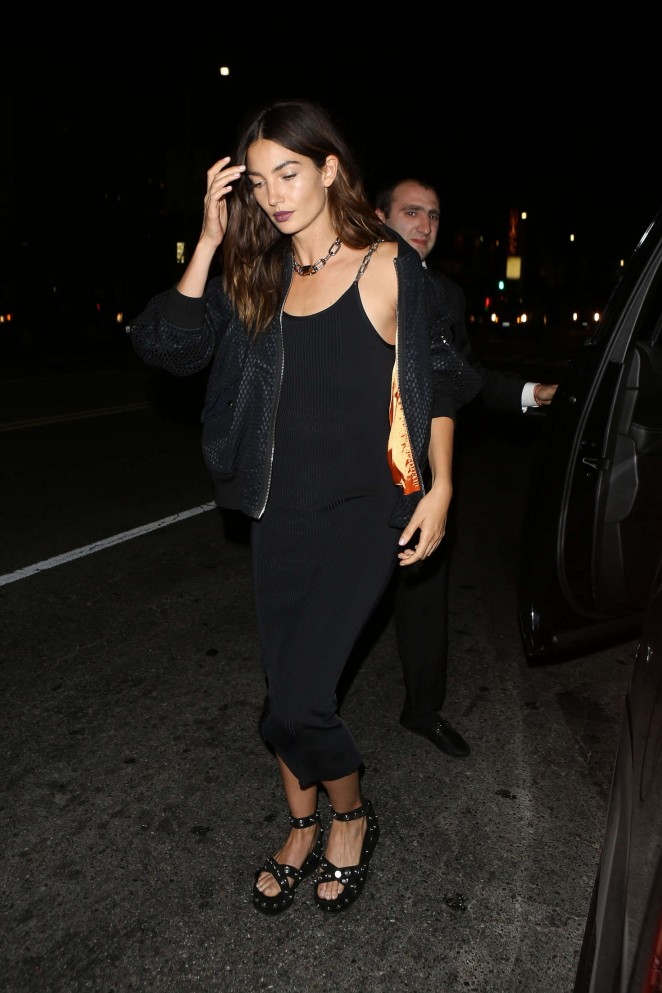 Hollywood Actress Long Hair Black Dress Lily Aldridge
