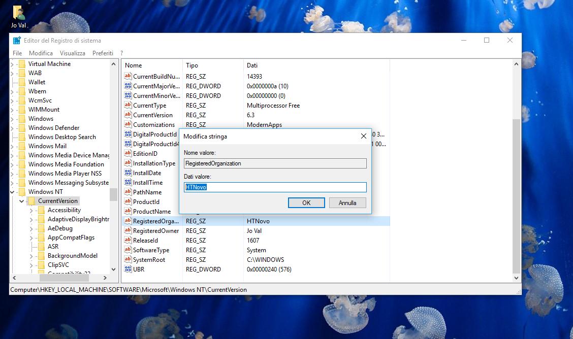 Come cambiare le info registrate su Proprietario e Organizzazione in Windows 10 3 HTN