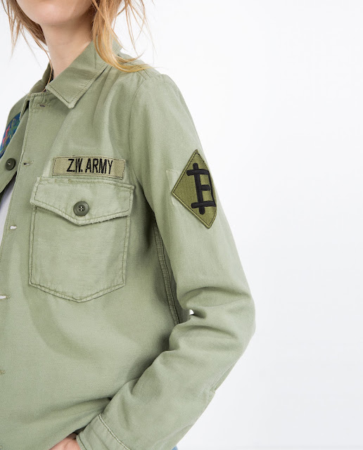 zara khaki patch shirt,