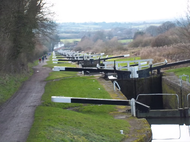 A photo of Caen Hill Locks, taken from the top, looking down the canal.