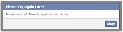 Facebook - an error occured - try again
