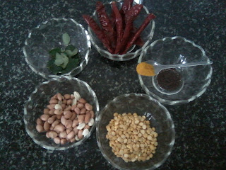 Pulihora Tadka-Groundnuts-Red Chillis-Curry Leaves-Chana Dhal