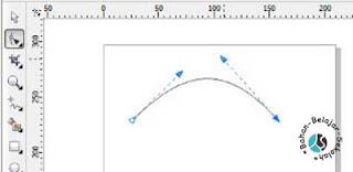 cara membuat garis lengkung dengan shape tool