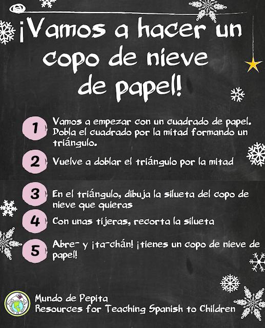 teaching 90% in target language making a paper snowflake