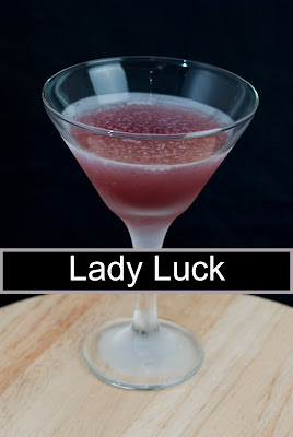 Lady Luck cocktail has malibu rum, chambord and banana liqueur