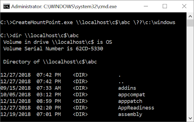 Using CreateMountPoint on \\localhost\c$\abc is successful and listing the directory showing the windows folder.