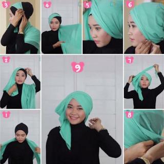 Tutorial Hijab Turban Segi Empat Modern Gaya #3 Layer Samping