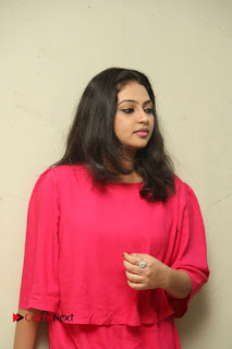 Actress Arundathi Nair Stills in Red Chididar at Bethaludu Success Meet  0066.JPG