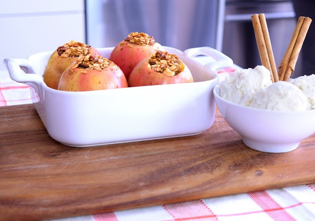 Baked Granola Apples with butter, cinnamon and raisins!