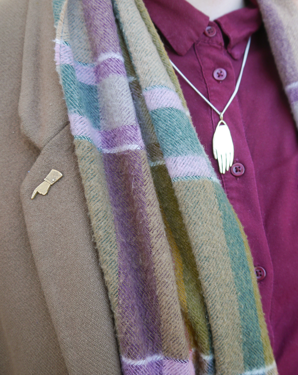 Wearin autumn colours, a Datter Industries hand necklace and pointing pin and a vintage scarf